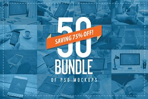50 PSD Mockups Mega Bundle - 75% OFF