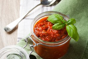 Glass jar with homemade tomato pasta sauce