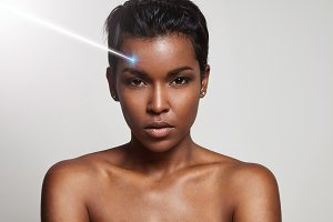 beauty black woman with ideal skin