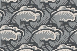Vintage seamless ocean waves pattern