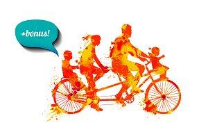 Family tandem bike + bonus. Vector