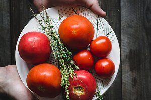 Heirloom tomatoes and fresh thyme