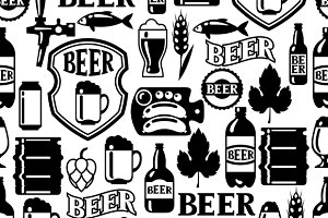 Patterns with beer objects.
