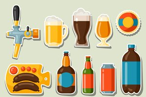 Beer stickers and objects.