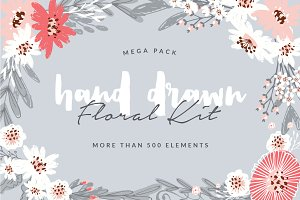 Hand Drawn Floral Kit