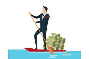 Man and Money in Boat