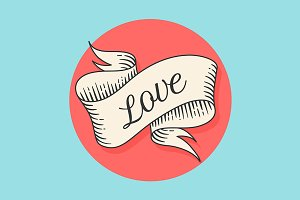 Vintage ribbon banner with text Love