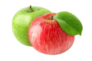 Two isolated apple fruits