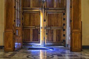 Open door in church