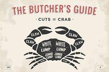 Cut of meat set. Butcher sheme. Crab