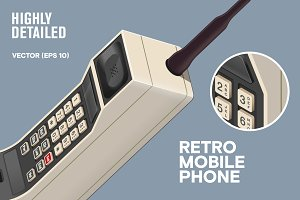 Retro 80s mobile cellphone