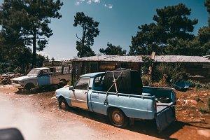 Abandoned cars on island