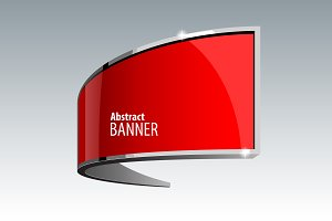 Shiny gloss red vector banner eps 10