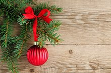 Spruce with christmas decoration