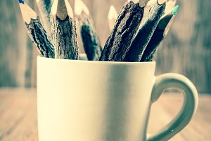 pencil in cup for background