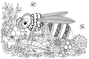 Doodle Wasp in flowers