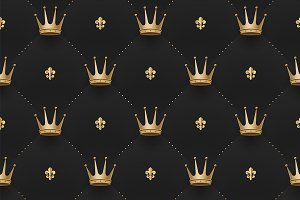 Pattern with crowns & fleur-de-lys