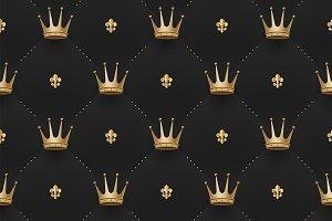 Pattern with crowns & fleur-de-lys