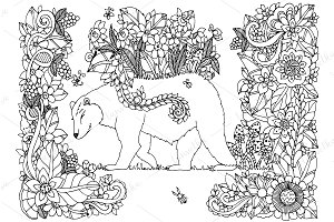 Doodle Bear and flowers.