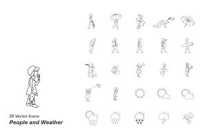 People and Weather outlines icons