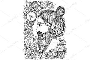 Doodle man in floral frame