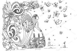 Doodle girl - angel.