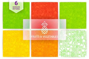 Fruit Vegetable Line Tile Patterns