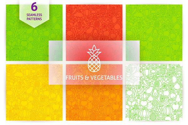 Fruit Vegetable Line Tile Patterns