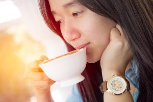 beautiful woman drink coffee