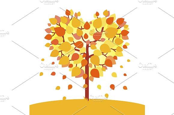 Heart shaped autumn tree