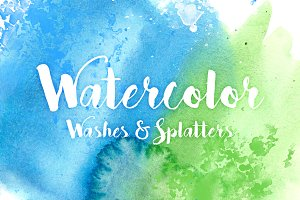 20 Watercolor Splatters & Washes