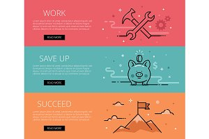 Work. Save Up. Succeed. Web banners