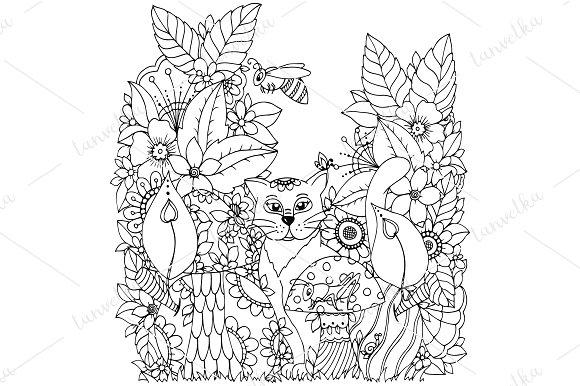 Doodle cat in flowers