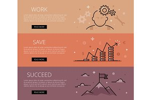 Work. Save. Succeed. Web banners