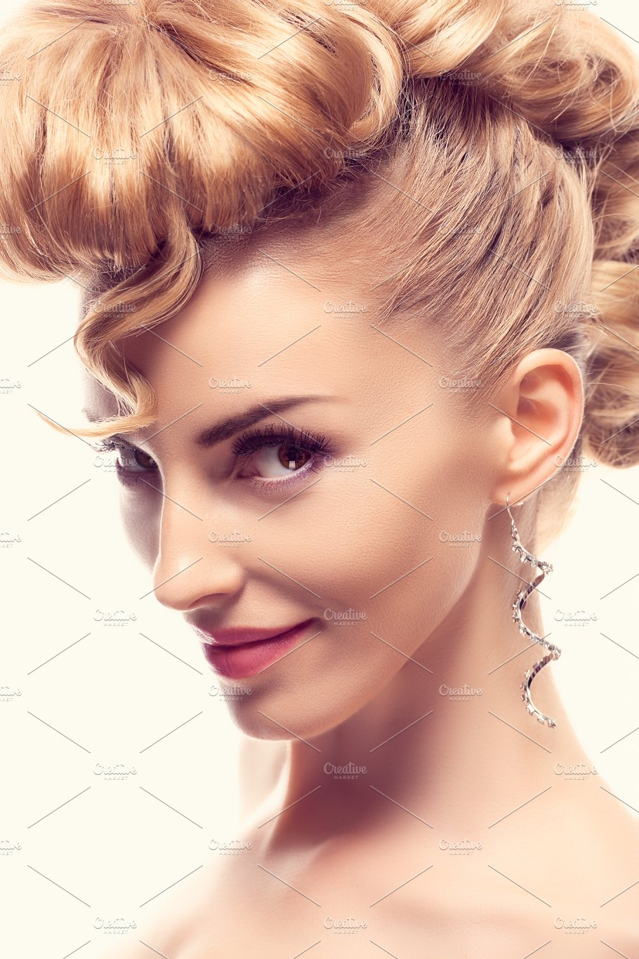 Fashion Natural Makeupwoman With Mohawk Hairstyle Beauty