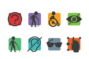 Disabled icons flat style