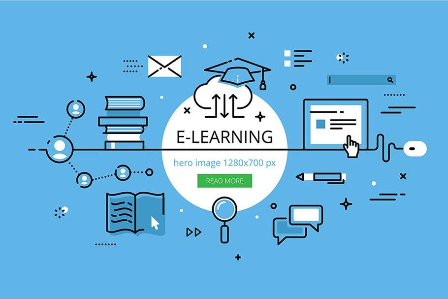 E Learning Hero Banner Set Pre Designed Illustrator Graphics Creative Market