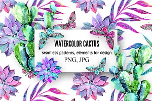 Watercolor cactus seamless patterns