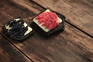 Bread and caviar rustic dark set