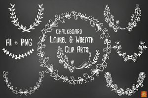 Chalkboard Laurel Wreath Vector &PNG