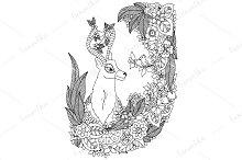 Doodle deer in floral frame