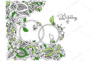 Doodle Wedding rings in flowers