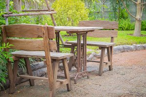 Tables and chairs vintage at park