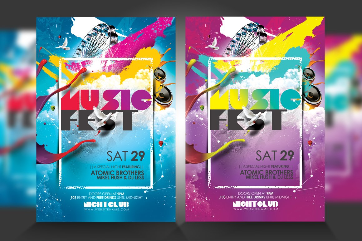 Music Festival Flyer Flyer Templates Creative Market