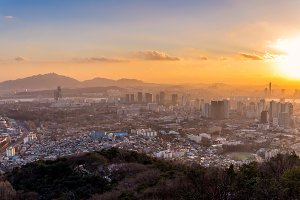 scenery sunset of the city