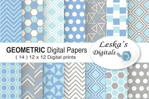 Geometric Digital Paper Blue & Grey