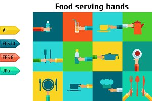 Set with serving food hands