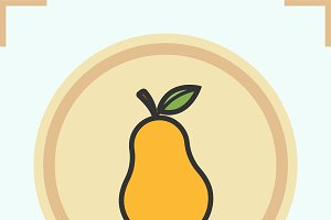 Pear color icon. Vector