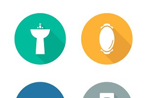 Bathroom interior icons. Vector