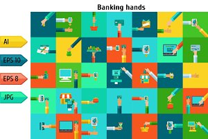 Set of banking hands